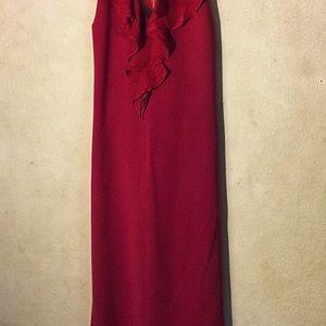 Elite Tahari Red Ruffle Front Halter Midi Dress